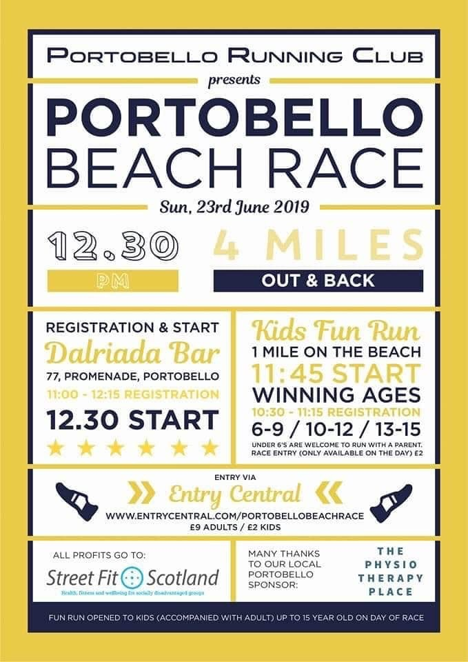 Portobello Running Club Beach race poster